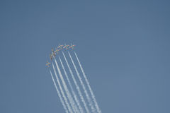 Aviation show. In blue sky Royalty Free Stock Images