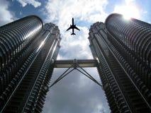 Aviation and Skyline at KLCC Kuala Lumpur Malaysia. Aviation and sky scraper view Royalty Free Stock Photography