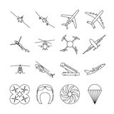 Aviation thin line vector icons set. Airplane in linear style, illustration of aviation transport airplanes and helicopter Stock Photo