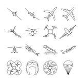 Aviation thin line vector icons set Stock Photo