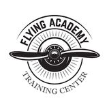 Aviation training center emblem template with retro airplane. Design element for logo, label, emblem, sign. Vector illustration Royalty Free Stock Photography