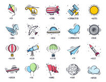 Aviation and Travel Doodle Icon Set Stock Photos