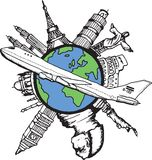 Aviation and travel doodles Royalty Free Stock Image