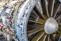 Aviation turbojet engine equipment. Creative abstract aviation industry technology concept: macro view of the airliner turbojet turbine engine equipment with Stock Images