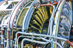 Aviation turbojet engine equipment. Creative abstract aviation industry technology concept: macro view of the airliner turbojet turbine engine equipment with Royalty Free Stock Photo