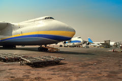 Aviation unites - Russian and Ukrainian aircraft on loading Royalty Free Stock Photos