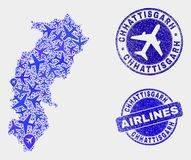 Airlines Composition Vector Chhattisgarh State Map and Grunge Seals. Aviation vector Chhattisgarh State map collage and grunge watermarks. Abstract Chhattisgarh vector illustration