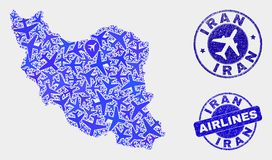 Aeroplane Mosaic Vector Iran Map and Grunge Stamps. Aviation vector Iran map collage and scratched stamps. Abstract Iran map is done of blue flat random airline royalty free illustration
