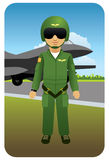 Aviator. Vector illustration of a male military pilot and his jet Stock Image