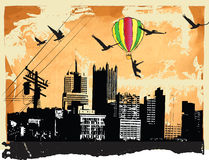 Aviator. Flying old baloon upon the city panorama, aviator vector illustration