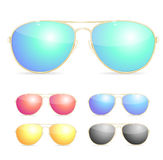 Aviator Colorful Sunglasses Set. Vector Stock Image