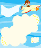 Aviator flying with message to fill. Illustration about a cute little happy aviator flying up in the sky with his airplane among big clouds to fill with a text royalty free illustration