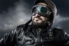 Aviator with glasses and vintage hat with proud expression Royalty Free Stock Photography