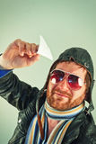 Aviator Man Paper Plane Royalty Free Stock Images