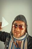 Aviator Man Paper Plane Stock Photos