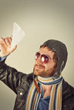Aviator Man Paper Plane Stock Images