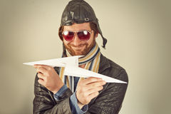 Aviator Man Paper Plane Royalty Free Stock Photo