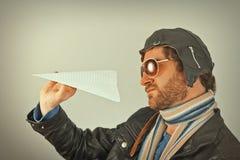 Aviator Man Paper Plane Stock Image
