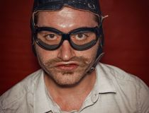 Aviator Silly Expression royalty free stock photos