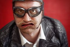 Aviator Silly Expression royalty free stock photo