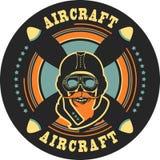 Aviator skull emblem Stock Photography