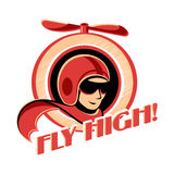 Aviator sticker. Fly high! retro aviator sticker with propeller vector illustration