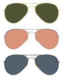 Aviator sunglasses. Classic aviator sunglasses in basic solid colors Stock Photo
