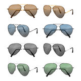 Aviator sunglasses isolated on white. Dark brown reflective lense Royalty Free Stock Images