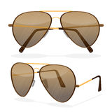 Aviator sunglasses isolated on white. Dark brown reflective lense Stock Image