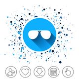Aviator sunglasses sign icon. Pilot glasses. Button on circles background. Aviator sunglasses sign icon. Pilot glasses button. Calendar line icon. And more line Royalty Free Stock Images