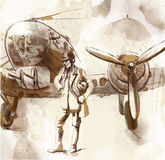 Aviator. Vintage picture from the series: World between 1905-1949 --- Pilot aircraft - bomber, stands in front of his machine --- Hand drawing converted into Royalty Free Stock Image