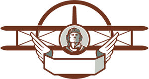 Aviatore pilota Spad Biplane Circle di guerra mondiale 1 retro Immagine Stock Libera da Diritti