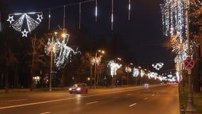 Aviatorilor boulevard on Christmas, Bucharest stock video footage