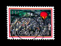 Aviazione, città da vista degli uccelli, serie, circa 1983 Immagini Stock Libere da Diritti