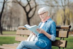 Concentrated old woman reading a book. Avid reader. Involved blond woman reading a book while sitting on the bench royalty free stock photography
