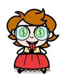Avidez do dinheiro - ilustração inteligente do vetor da menina dos desenhos animados do adolescente ilustração royalty free
