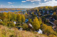 AView of the beautiful scenery in Ples town. Autumn nature. View of the beautiful scenery in Ples town on the Volga river, Russia Stock Image