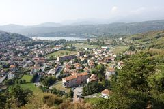 Avigliana, Italy - panoramic view over the lake Royalty Free Stock Images