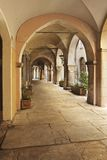 Avigliana Portico. Arched portico in the Piedmontese town of Avigliana stock photography