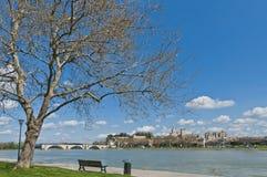 Avignon across Rhone River, France royalty free stock image