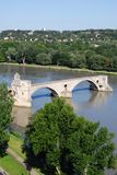 Avignon bridge, France. The Saint Benezet bridge on Rhone river in Avignon, Provence, France Royalty Free Stock Photography