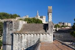 Avignon Bridge Papal Palace France. The Avignon bridge and the Palais des Papes. Avignon, Provence, France stock images