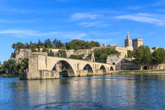 Avignon Bridge and Popes Palace, France royalty free stock images