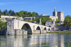 Avignon Bridge with Popes Palace Stock Images