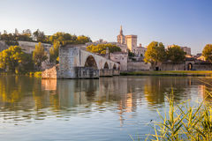 Avignon Bridge with Popes Palace in Provence, France. Famous Avignon Bridge with Popes Palace in Provence, France Royalty Free Stock Photos