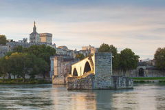 Avignon Bridge with Popes Palace and Rhone river at sunrise, Pon Royalty Free Stock Photography