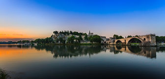 Avignon Bridge with Popes Palace and Rhone river at sunrise, Pont Saint-Benezet, Provence Stock Photo