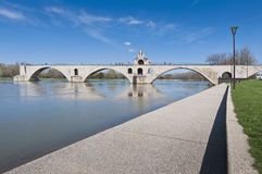 Avignon bridge and Rhone river, France Royalty Free Stock Photos