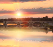 Avignon Bridge with Rhone river at sunset, Pont Saint-Benezet, Provence, France Royalty Free Stock Images