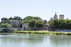 The Avignon Bridge and River Rhone Stock Photography